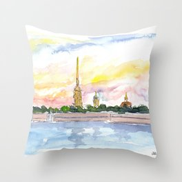 St Petersburg Russia Peter and Paul Fortress Throw Pillow