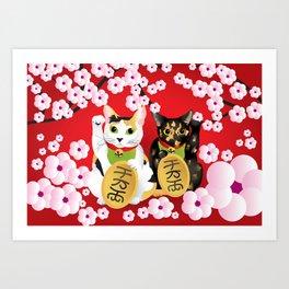 Sakura Maneki Neko Art Print