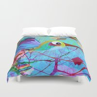 hemingway Duvet Covers featuring Hemingway - Quirky Bird Series by Hyla Zest