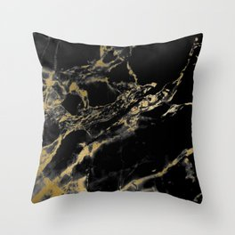 marble black gold Throw Pillow