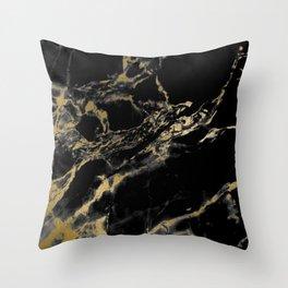marble black gold Throw Pillow