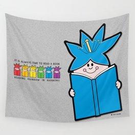 Reading Rainbow in Harmony - Blue Wall Tapestry
