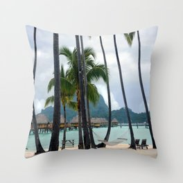 Bora Bora Tahiti Hammock Time Throw Pillow