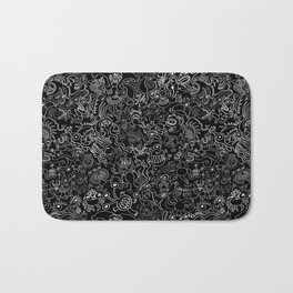 Crazy monsters in a crowded pattern Bath Mat