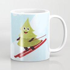 Happy Pine Tree on Ski Mug