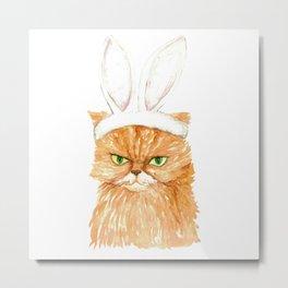 Bunny cat Painting Wall Poster Watercolor Metal Print