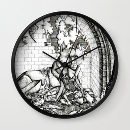 Lovers in the ruins Wall Clock