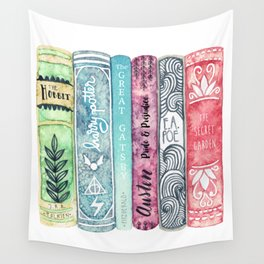 Book Lover Watercolor Books Wall Tapestry