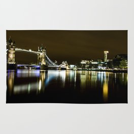 Night photo of Tower Bridge London with light reflections Rug