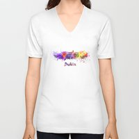 dublin V-neck T-shirts featuring Dublin skyline in watercolor by Paulrommer