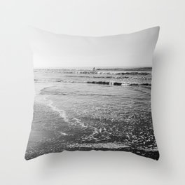 Surfing Monochrome Throw Pillow