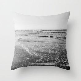 Surfing Monochrome Throw Pillow
