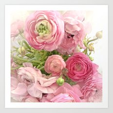 Shabby Chic Cottage Ranunculus Peonies Roses Floral Print Home Decor Art Print