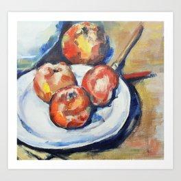 Four Apples and a Knife Cezanne Interpretation Art Print