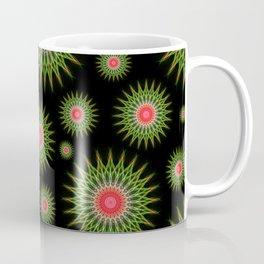 Mandalas pattern in red and green Coffee Mug
