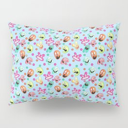 Little Happy Monsters on a Blue Background Pillow Sham