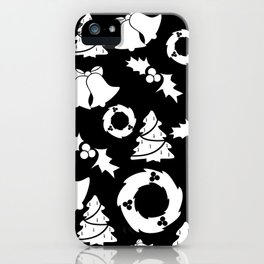 Classic Christmas in Black and White iPhone Case
