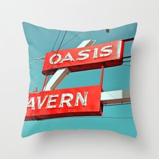 Oasis sign Throw Pillow