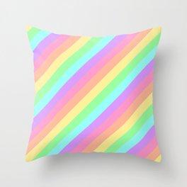 Pastel Rainbow Diagonal Stripes Throw Pillow