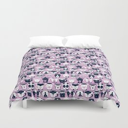 Cuddly Tea Time // white navy & light orchid pink animal mugs Duvet Cover