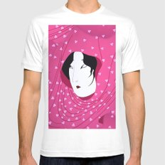 Girly Japanese Geisha Illustration Pink Pattern Mens Fitted Tee MEDIUM White
