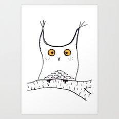 Squarish Owl Art Print