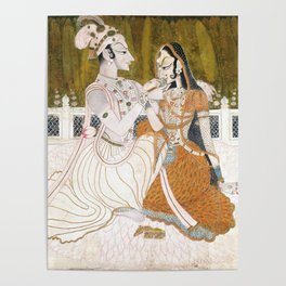 Krishna and Radha circa 1750 - Indian Art Poster