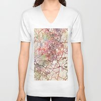 austin V-neck T-shirts featuring Austin by MapMapMaps.Watercolors