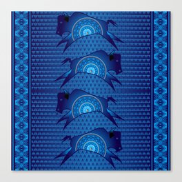 Buffalo Running (Blue) Canvas Print