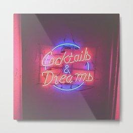 Cocktails & Dreams Neon Metal Print