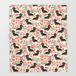 Doxie Florals - vintage doxie and florals gifts for dog lovers, dachshund decor, black and tan doxie Throw Blanket