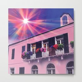 Sunshine on Pink New Orleans French Quarter Nola Home Floral Botanical Garden Cotton Candy Blue Sky Metal Print