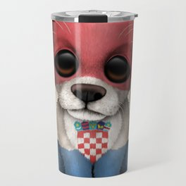 Cute Puppy Dog with flag of Croatia Travel Mug