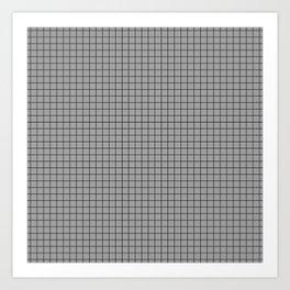 Grey Grid Black Line Art Print