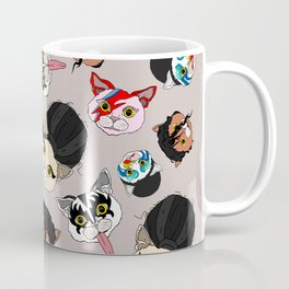 Pop Cats - Pattern French Gray Grey Coffee Mug
