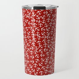 Maritime small Nautical Red and White Anchor Pattern - Anchors Travel Mug