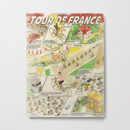 Tour de France Comic Book Metal Print
