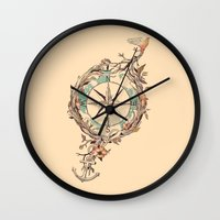 bon iver Wall Clocks featuring Bon Voyage by Norman Duenas