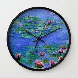 Claude Monet Waterlilies Red Wall Clock