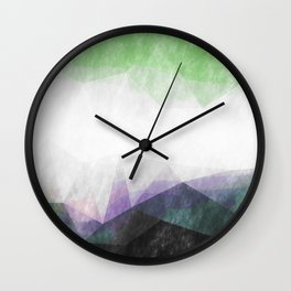 On the mountains- green watercolor - triangle pattern Wall Clock