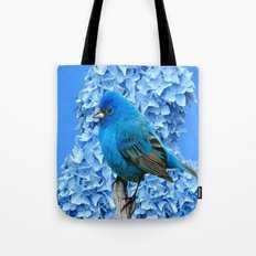 BLUE BIRD & BLUE HYDRANGEAS ART Tote Bag