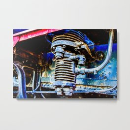 Grunge Heavy-Duty Air Pump Of A Vintage Steam Engine Locomotive Engine Locomotive Metal Print