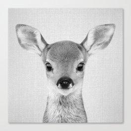 Baby Deer - Black & White Canvas Print