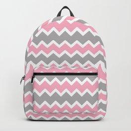 Pink Gray Chevron Backpack