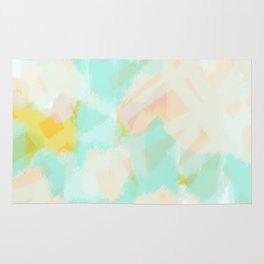 Selah - Soft blue abstract digital painting Rug