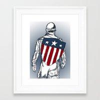chris evans Framed Art Prints featuring Captain America (Chris Evans) by  Steve Wade ( Swade)