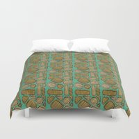 mid century Duvet Covers featuring Mid century ochre by KITTY COLES