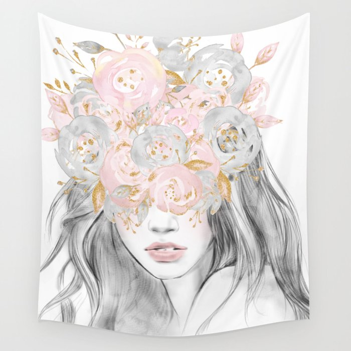 She Wore Flowers In Her Hair Rose Gold By Nature Magick Wall Tapestry By Naturemagick