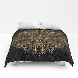 MANDALA IN BLACK AND GOLD Comforters