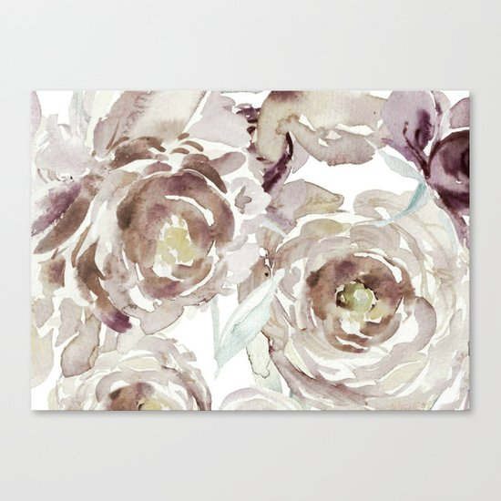 Earthy Painterly Floral Abstract Canvas Print